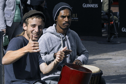 street ireland portrait musician music irish galway drum candid guinness cap busker thumbsup approve fullard frankfullard