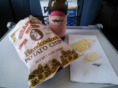 Grandma Utz's Chips and Dogfish Head IPA on Amtrak