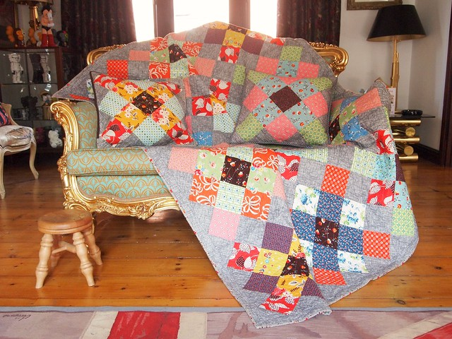 pillows and quilt