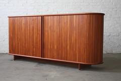 Rare Vintage Danish Modern Teak Tambour Door Credenza (Denmark, 1970's)