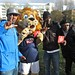Lewisham rapper Question and Zampa the Lion, Millwall F.C.'s mascot
