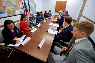 Secretary Kerry Meets With a Group of Non- Governmental Anti- Corruption Activists at the U.S. Embassy in Abuja
