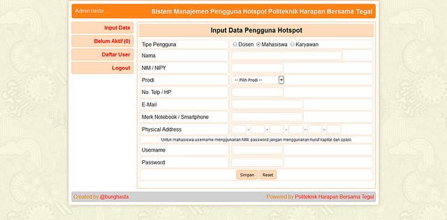 Halaman input data pengguna hotspot
