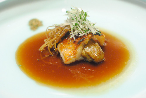 Thorn Head Fish Grilled on Charcoal and Simmered Grilled Eggplant