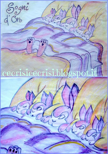 disegno acquerello con coniglietti