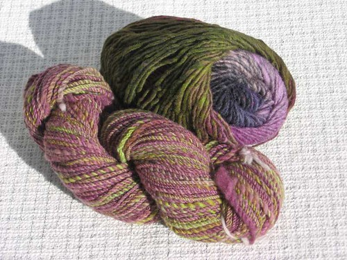 Handspun and commercial yarn