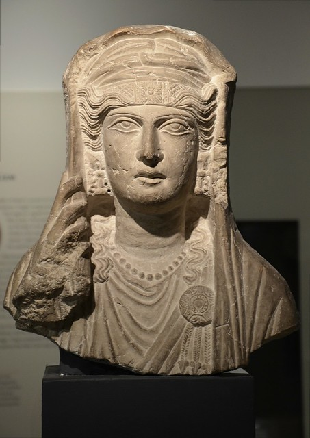Limestone bust of a veiled woman, from a sculpture set in a tomb at Palmyra (Syria), about AD 80-100, Ashmolean Museum