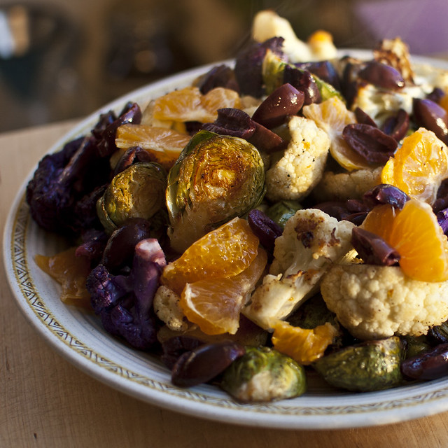 roasted cauliflower and brussels sprouts with kalamata ...