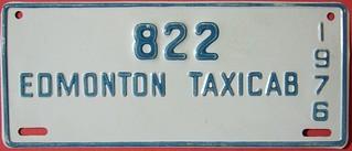 EDMONTON, ALBERTA 1976 ---TAXICAB LICENSE