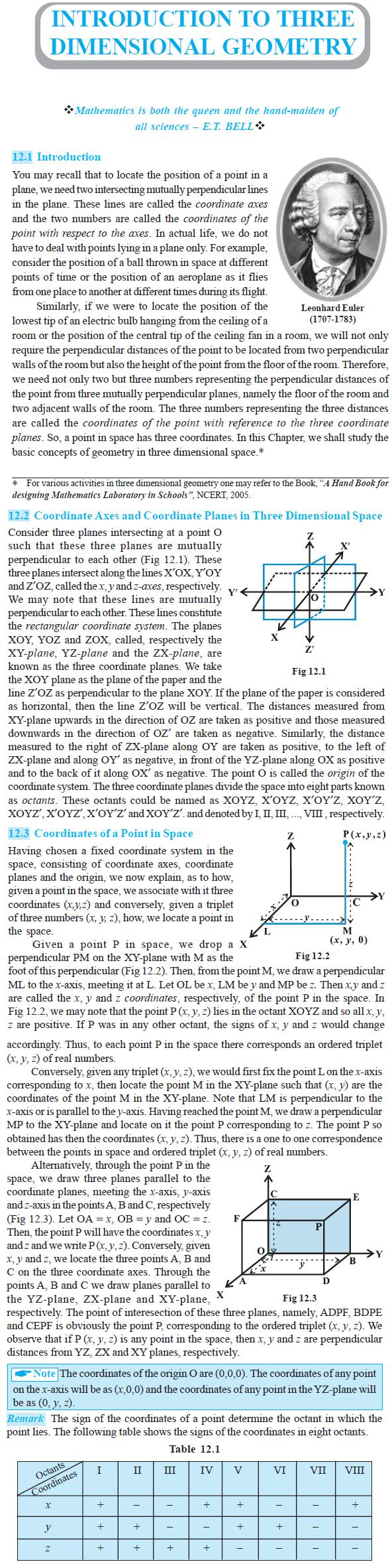 NCERT Class XI Mathematics Chapter 12 – Introduction to Three Dimensional Geometry