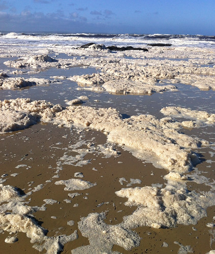 Sea foam is still floating around