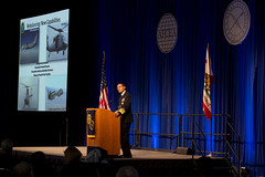 Adm. Cecil Haney addresses attendees of the Armed Forces Communications Electronics Association West conference at the San Diego Convention Center, Jan. 30. (U.S. Navy photo by Mass Communication Specialist 2nd Class Dominique Pineiro)