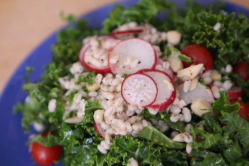 Kale and Barley Salad with Radish, Almond, and Grape Tomato