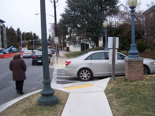 Car parked in a crosswalk, Silver Spring