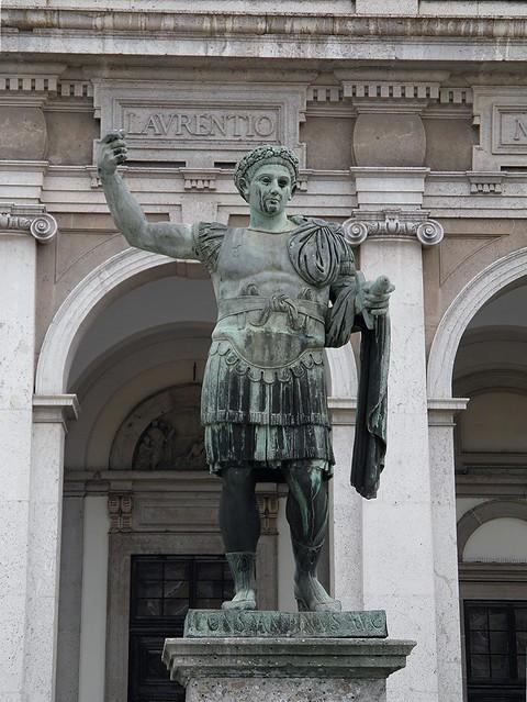 Bronze statue of Constantine the Great in front of San Lorenzo Maggiore basilica, it is a copy of the bronze original now in the Basilica of San Giovanni in Laterano in Rome, Mediolanum, Milan (Italy)