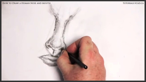 learn how to draw a human nose and mouth 011