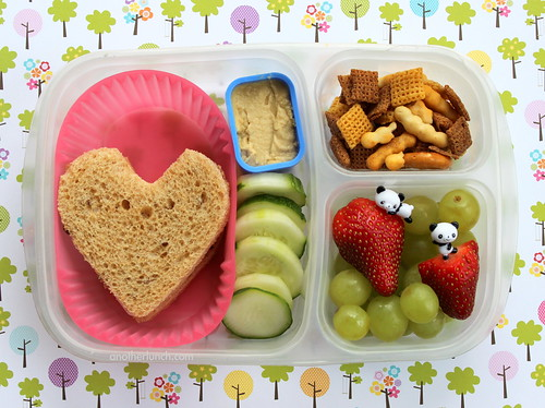 Heart shaped sandwich lunch box with cumcumbers and hummus