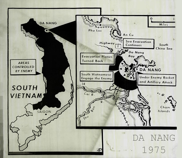 March 1975 - Map Of South Vietnam & Da Nang - Press Photo