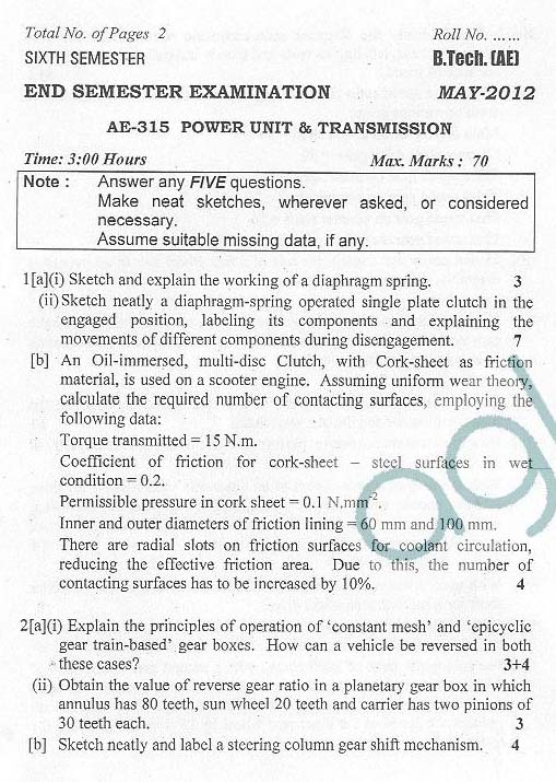 DTU: Question Papers 2012 - 6 Semester - End Sem - AE-315