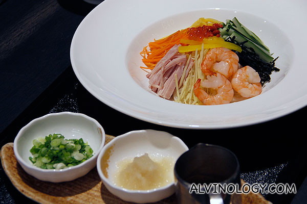 Hyashi Chuka (S$17) - Cold noodles with strips of Tamagoyaki egg, sliced cucumber, sliced carrot, ginger, Gammon ham and nori served with somen