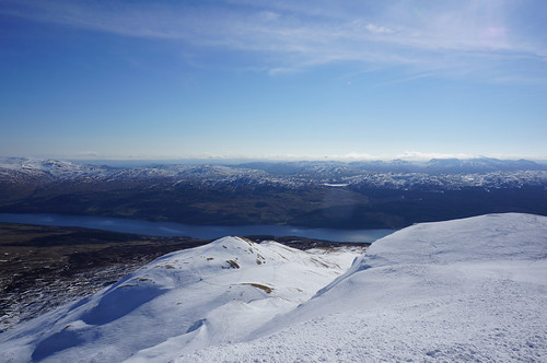 Looking South back down the route of ascent from the summit of Meall nan Tarmachan