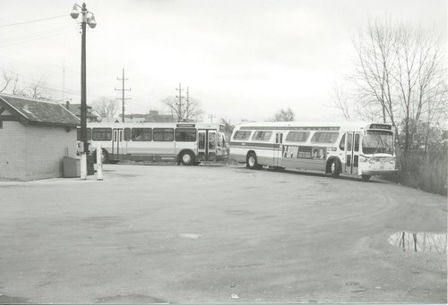 The Chicago Transit Authority bus terminal loop on West 111th Street and South Springfield Avenue in Chicago's Mount Greenwood neighborhood.  Chicago Illinois.  November 1989. by Eddie from Chicago