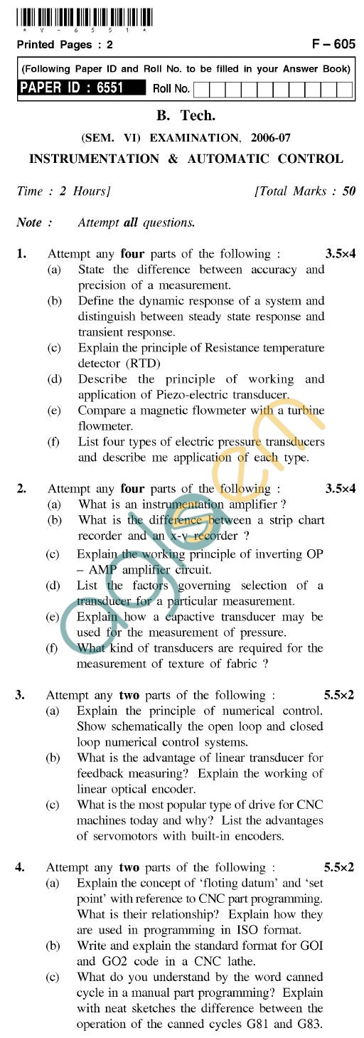 UPTU B.Tech Question Papers - F-605 - Instrumentation & Automatic Control