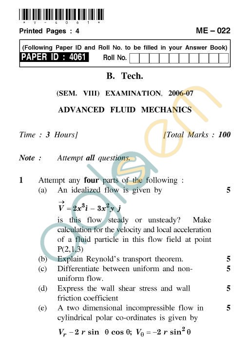 UPTU: B.Tech Question Papers - ME-022 - Advanced Fluid Mechanics