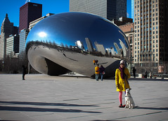 Birdie Visits Cloud Gate, aka The Bean
