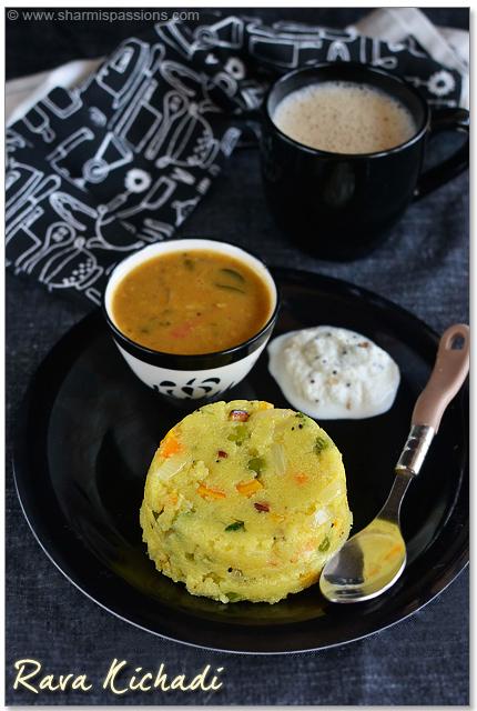 Rava Kichadi Recipe - Sooji Khichdi Recipe - Sharmis Passions