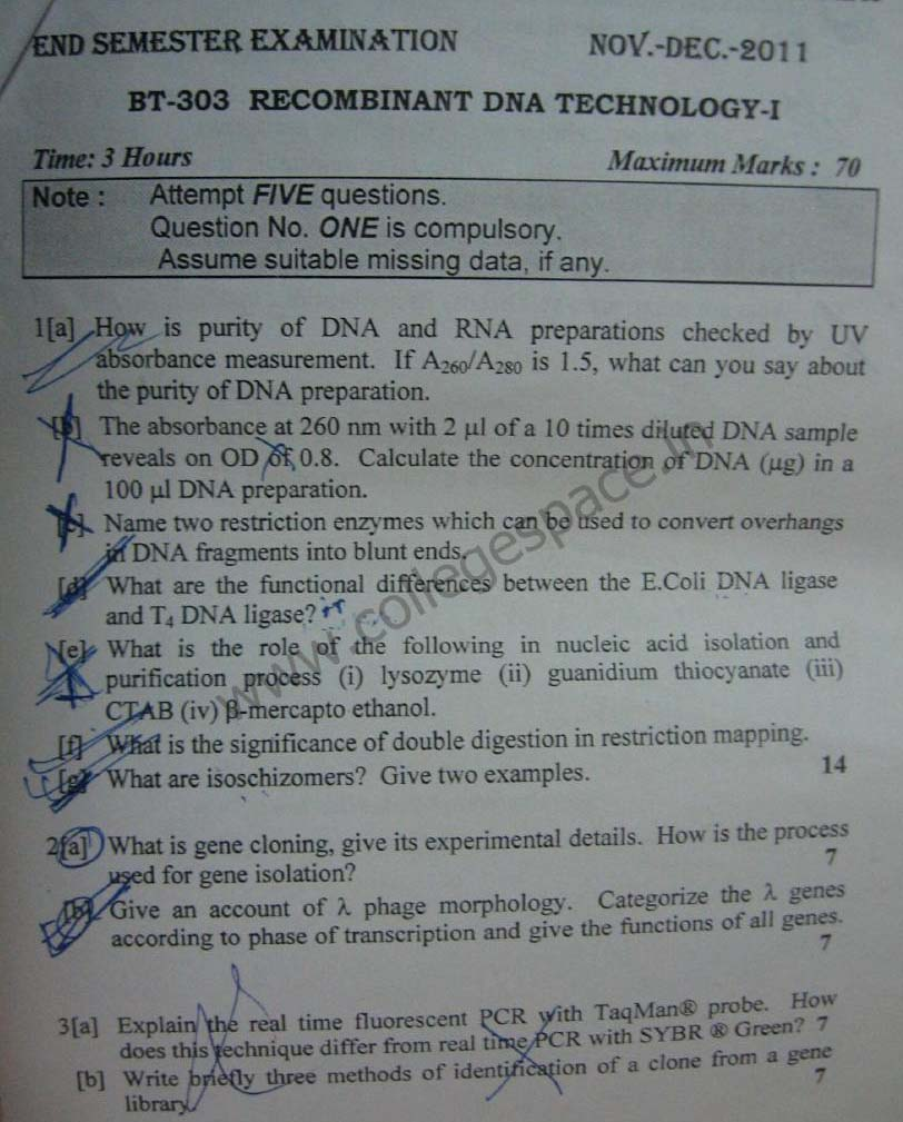 NSIT Question Papers 2011 – 5 Semester - End Sem - BT-303