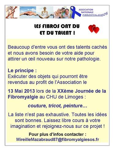 Pour aider l'association FibromyalgieSOS pour la journée mondiale de la fibromyalgie, le 12 mai 2013!!!