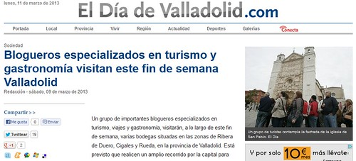 Noticia en el Día de Valladolid 9 de marzo de 2013