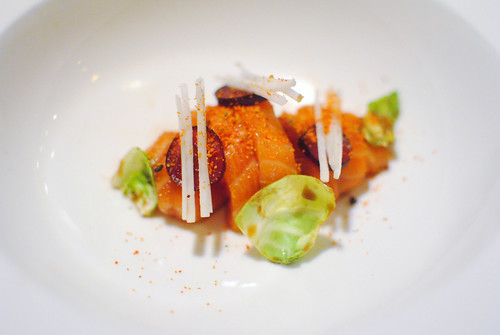 Ocean Trout Crudo – Yuzu Ponzu – Brussels Sprout – Pickled Grapes