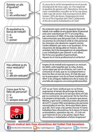 comunicat cgt F.C.Barcelona sobre Pla d´igualtat, vestuaris,borsa de treball i falta de personal