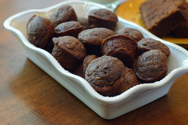 Chocolate Peanut Butter Banana Bread mini muffins in a white serving dish.