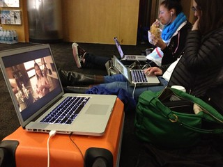 Our flight has been delayed another hour, so I put MAGIC MIKE on our laptops