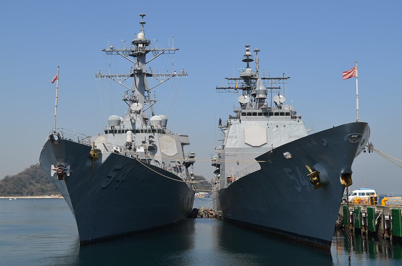 USS Curtis Wilbur (DDG 54) (left); USS Antietam (CG 54) (right)