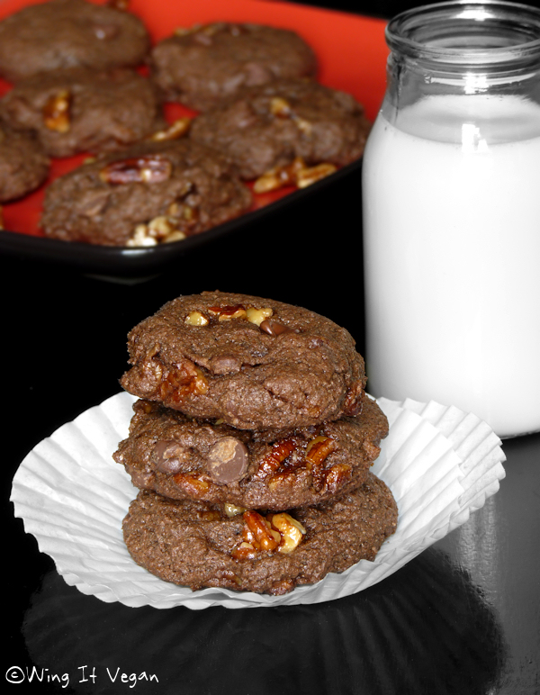 Choco-Chocolate Chip Praline Cookies