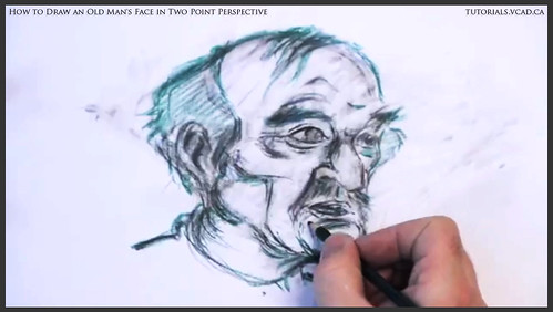 learn how to draw an old man's face in two point perspective 034