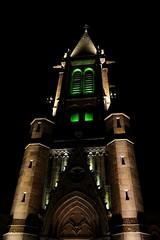 L'église de St Just, en vert