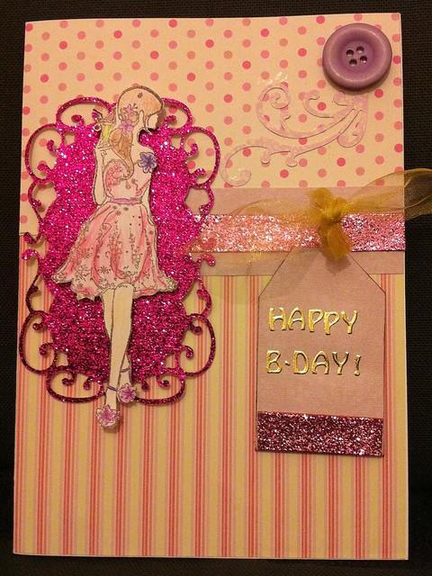Glitter girl card