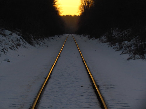 trees winter sunset snow wisconsin tracks trains