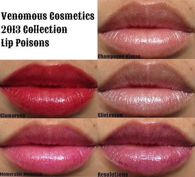 venomous cosmetics 2013 lip poisons swatches collage