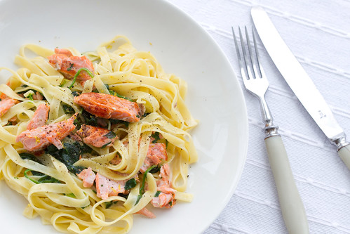 ... It's Pasta Time: Tagliatelle with creamy spinach and pan-fried salmon