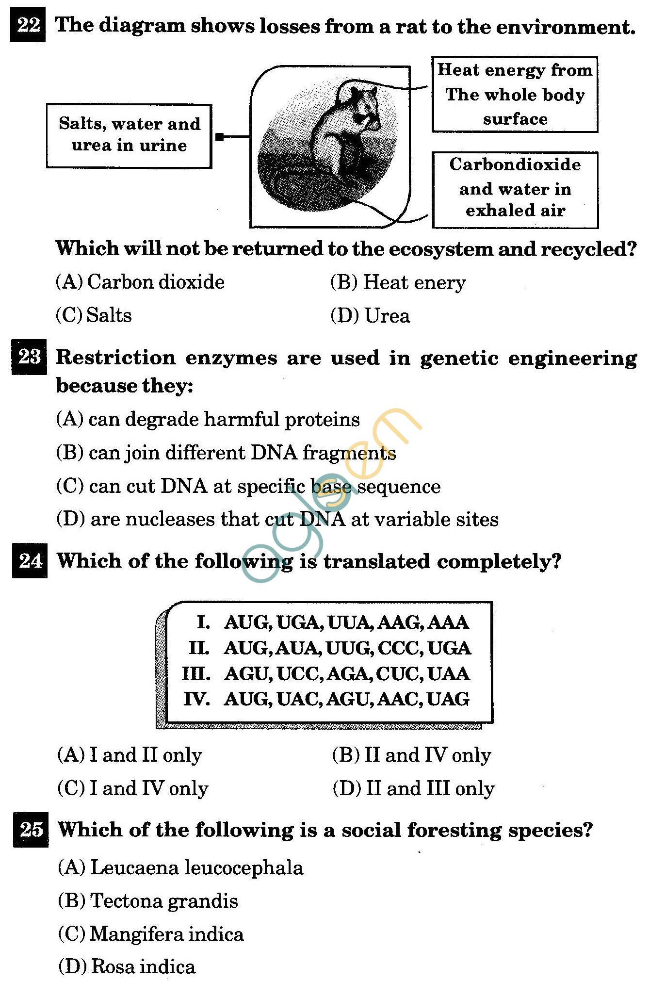 NSTSE 2011 Class XII PCB Question Paper with Answers - Biology