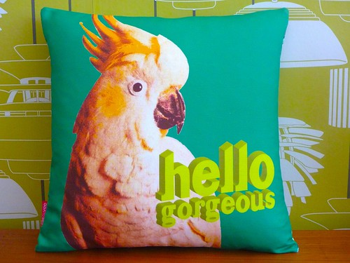 Hello Gorgeous cushion by cat&vee