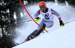 Trevor Philp is all business in the first run of the Kitzbühel men's slalom.