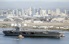 The aircraft carrier USS Carl Vinson (CVN 70) gets underway from Naval Air Station North Island to conduct sea trials during the final stage of a six-month planned incremental availability.