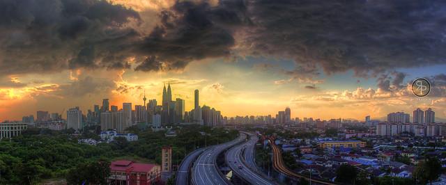 Golden scape in Kuala Lumpur, Malaysia